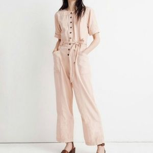 Madewell 12 Top-Stitched Coverall Jumpsuit pink